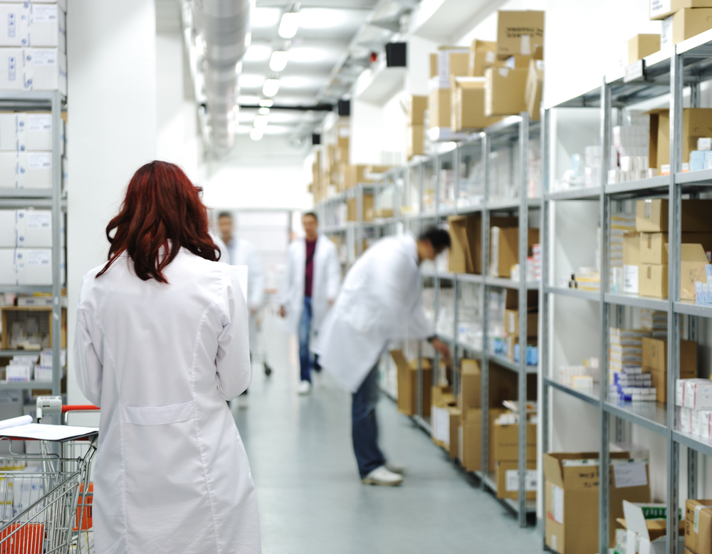 Workers at workplace, drug storage